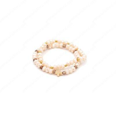 Brilliant Ivory Beads Bracelets with One Gold Plated Cross