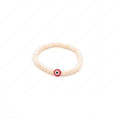 Crystal Ivory and Red Evil Eye Bracelet