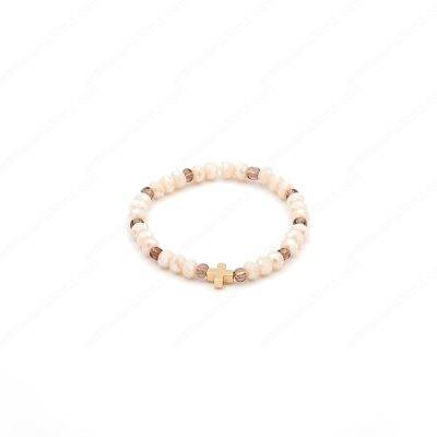 Ivory Beads and Gold Plated Cross Bracelet