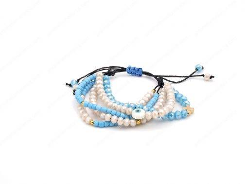 Unique Ivory Turquoise Crystal Evil Eye Bracelet